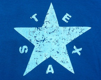 First Texas Flag  - Men's T-shirt - Blue Fine Jersey - American Apparel - Truckpatch Designs