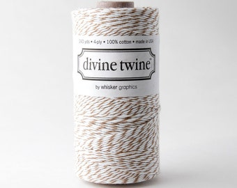 SALE 20% OFF - Brown: Chocolate & White Divine Twine 240 Yards Spool of Bakers Twine by Whisker Graphics