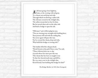 The Bridge Builder Poem Print, mentor gift for women, for men, teacher