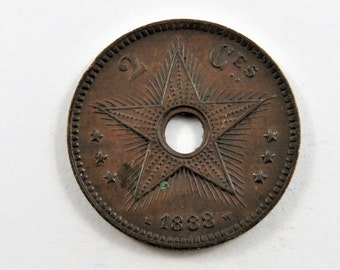 Congo Free State 1888 2 Centimes Coin.