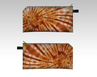 Tie Dye Pencil Case-Gold Terracotta Raisin-Zipper Pouch-Pencil Pouch-Cosmetics Pouch-Cosmetics Case