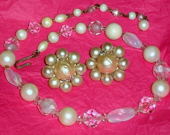 Wedding Jewelry Set Vintage Necklace Earrings Crystals PearLs Demi Parure Mad Men Mid Century Mod Art Glass Bride Japan Signed Baroque Sale