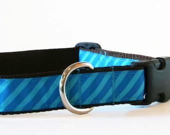 Dog Collar - Blue Stripes Adjustable Dog Collar - Large Dog