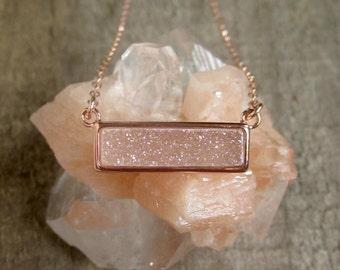 Rose Gold Druzy Necklace, Natural White AB Druzy Necklace, Gemstone Bar Necklace, Drusy Necklace, Druzy Quartz Jewelry