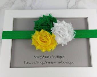 Green Bay Elastic Headband, Baby Headband, Flower Headband, Baby Headband, Newborn Headband, Toddler Headband, Baby Gift, Shabby Flower