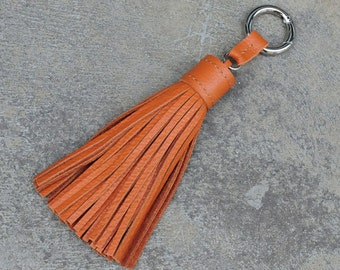 LARGE Type- Tan Unique and Chic Hand Stitched Cowhide Leather TASSEL Key Chain or Bag Charm-(Pick thread and Key Ring color)