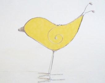 Stained Glass- Standing Yellow Bird- Sun Catcher- Home Decor