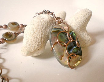 Necklace - Mother of Pearl Pendant, Abalone Shell Necklace, Free Form Wire Wrapped Shell, Shell Jewelry, Beach Jewelry on Copper Chain