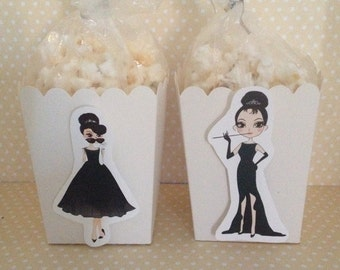 Audrey Hepburn, Breakfast at Tiffany's Party Popcorn or Favor Boxes - Set of 10