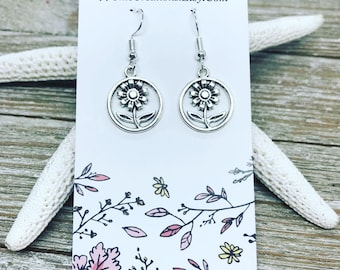 Tibetan silver flowers on nickel free ear wires.