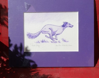 Purple Saluki Watercolor, Signed, Matted