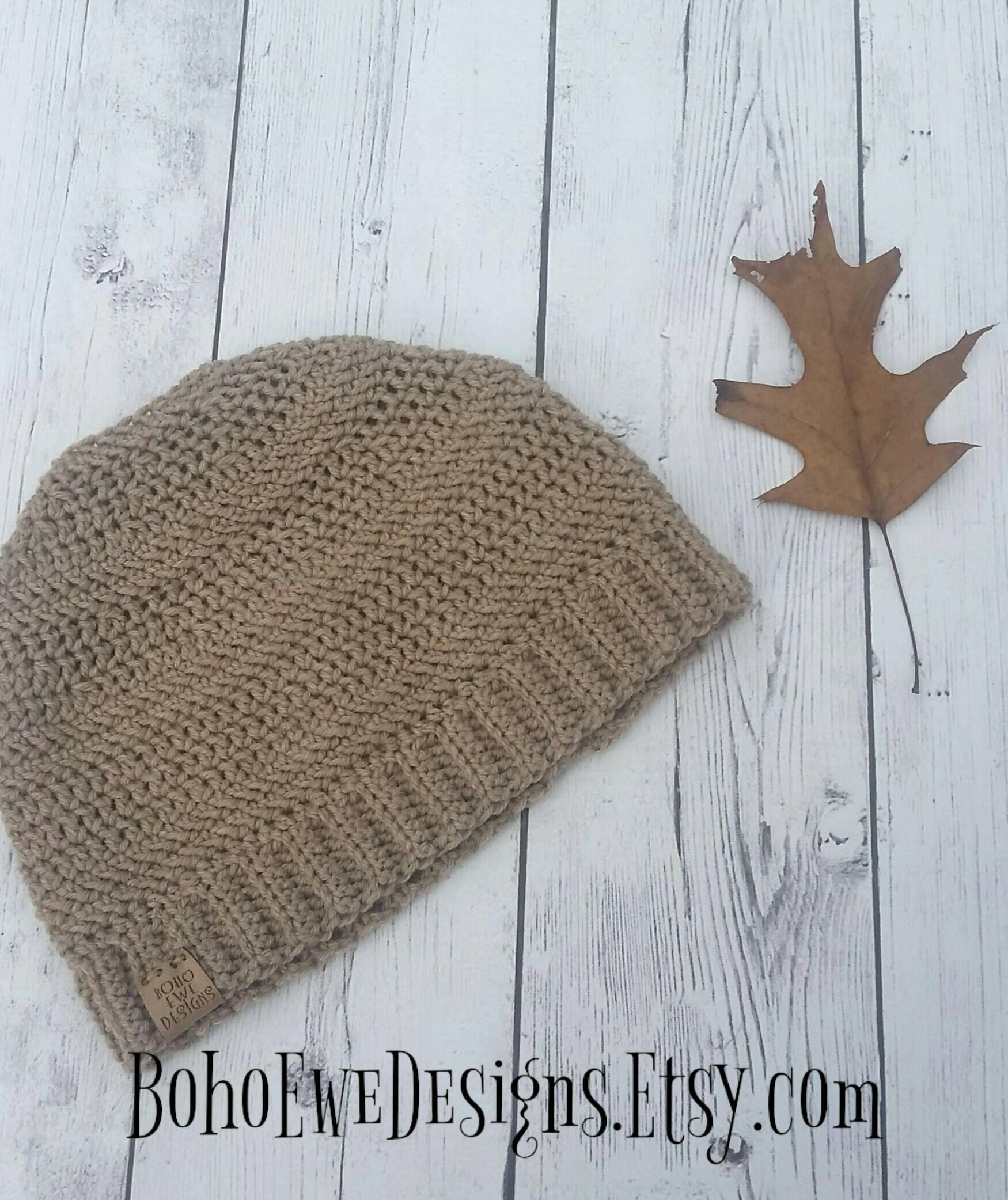 Messy Bun Beanie Hat made 100% Natural Superwash Wool, Ponytail Hat Opening for Hair, Top Knot Beanie, Various Solid Colors, Fits over Ears