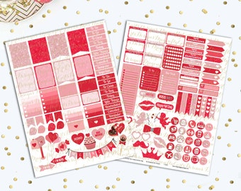 50% OFF Valentine's Day Printable Planner Stickers Mini Kit 125 Stickers pdf and 2 jpeg