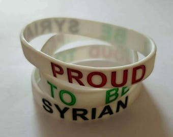 """Silicone Rubber """"Proud To Be Syrian"""" Wristband/Bracelet"""