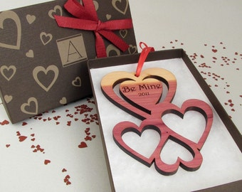 Custom Engraved Valentine Heart Ornament with Monogram Gift Box