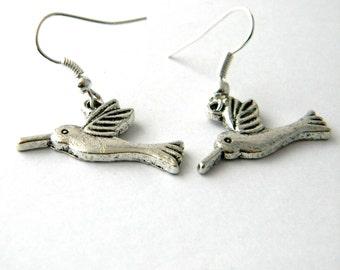 Hummingbird Earrings Silver Color Dangle Earrings