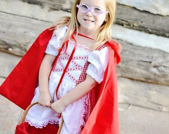 Cute Little Red Riding Hood Costume Dress and Cape, gingham check, swiss, german dirndl, nursery rhyme, fairy tale, story book, Halloween