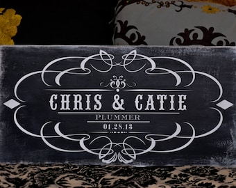 12x24 Chalk Board Style Couple or Wedding Sign - Custom Designs available