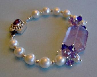Amethyst Gemstone and Pearl Sterling Silver Bracelet-Gemstone Bracelet-Freshwater Pearl Bracelet-OOAK Bracelet-SRAJD-Artisan Bracelet