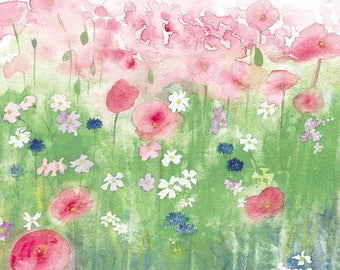 Pink Poppies in Field Watercolour Print