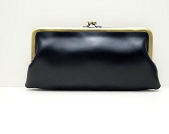 "Ladies wallet, womans purse, womans wallet ""Lea"" in black, genuine leather, wallet, purse, portemonnaie in red, handmade, clip purse"