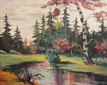 Gouache painting vintage impressionist forest river landscape signed