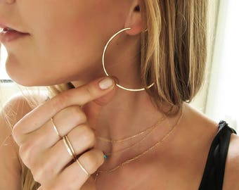 """Gold Hoop Earrings - Thin Gold Hoops - Thin Hammered Hoops - Silver or Rose Gold Hoops - Straight Through - Endless Hoops -  2"""" Large Hoops"""