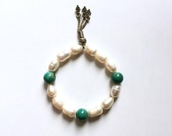 Sale 20% off Handmade Freshwater Pearl Bracelet, Pearl Turquoise Bracelet, Pearl Sterling Silver Bracelet
