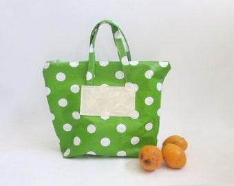 Green lunch bag, Reusable Lunch Bag, Oilcloth Bag, Food Storage Bag, Washable luncg bag, Women's lunch bag.