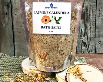 Bath Salts: Jasmine Calendula Bath Salts 8oz Herbal Bath. Bath Soak. Jasmine Scent