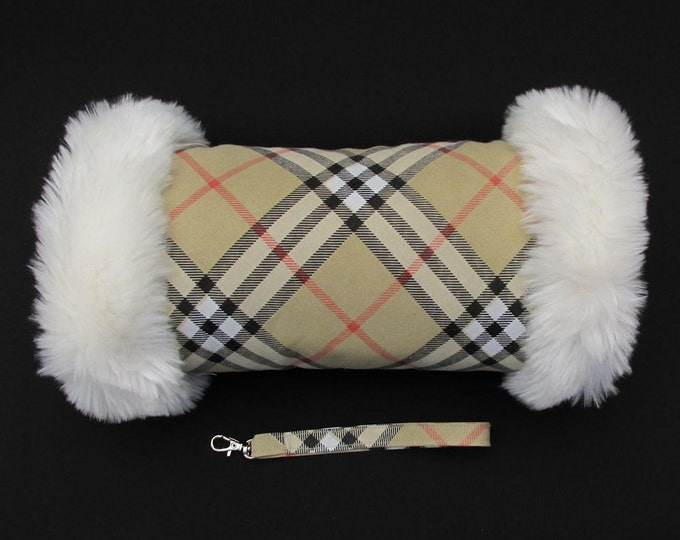 Beige Check Hand Muff with Ivory Faux Fur Trim