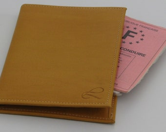 Yellow leather mens wallet