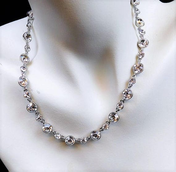 """GIVENCHY Crystal Necklace / Designer / Couture / 16"""""""