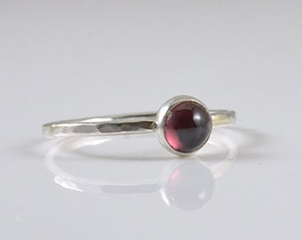 Garnet Ring in Sterling Silver January Birthstone Ring - Silver Stacking Ring by Gioielli Designs