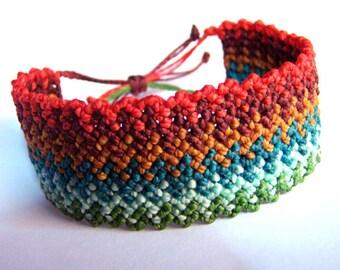 "Macrame bracelet ""Inca's path"" knot ""rice knot"" - Multicolored wide rainbow  tribal wristband"