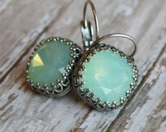 Chrysolite Opal Earrings, Rhinestone earrings, Cushion Cut Swarovski earrings, mint green Swarovski Crystal