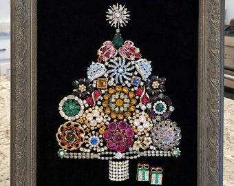 Framed Christmas Tree with Vintage Costume Jewelry Handmade