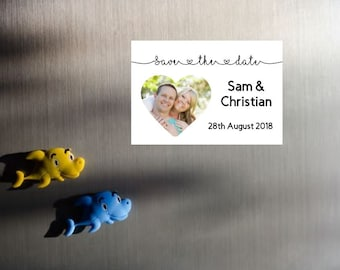 "8 x Save the Date photo magnets, 3"" x 2"", Polaroid, Personalised magnets, Instant photo style, Personalized Wedding, Heart Save the Date"