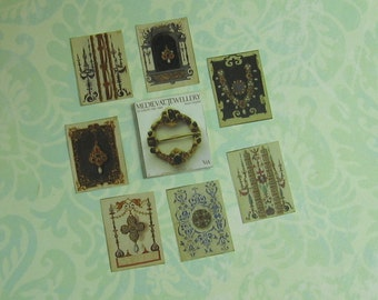 Dollhouse Miniature Set of Medieval Jewelry Book and Drawings