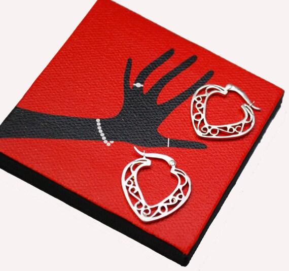 Sterling Hoop Earrings  Heart silver Filigree  Pierced earring