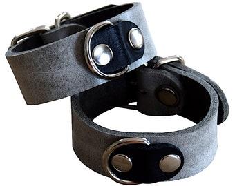 "Premium ""Terginum Gray Collection"" Restraints wrist cuffs leather shackles with D-rings grey bdsm bondage Fetish SM"