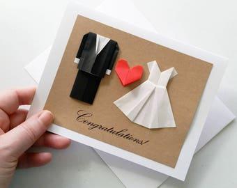 Minimalist Wedding Card: Congratulations - Origami Wedding Card - Black Suit - White Dress - Mr and Mrs - Minimalist Card - 3D Card - Heart