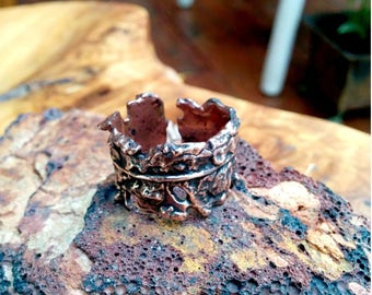 Textured Feather Copper Cuff Ring.  12mm Wide.
