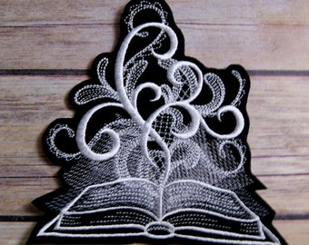 Ghost Book of Shadows White Baroque Iron On Embroidery Patch MTCoffinz - Choose Size