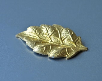 24  Czech Art Nouveau Brass Leaves Vintage New Old Stock Gold Stamping 3-D 22 x 12 mm