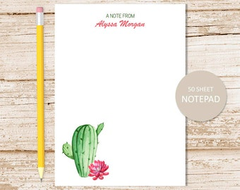 personalized notepad, note pad . cactus notepad . watercolor succulents, cacti . personalized stationery . stationary gift