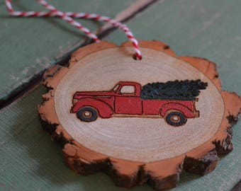 Red Truck with Christmas Tree Ornament