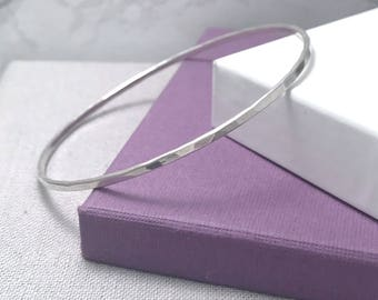 Sterling Silver Bangle   Hammered Silver Stacking Bangle   Gifts For Her   Silver Bangles UK
