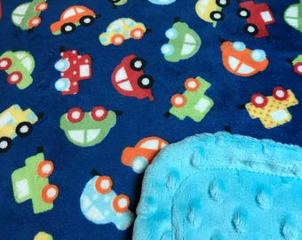 Minky Blanket Cars Print Minky with Turquoise Dimple Dot Minky Backing - Cute Gift for a Boy