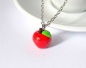 Red apple necklace charm pendant fruit kawaii cute  teacher appreciation week gift teacher present cute teacher gift handmade polymer clay